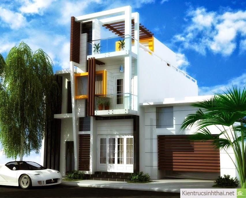 Phần dưới căn nhà sử dụng cửa sổ trắng trên nền tường trắng kẻ ron cảm giác rất thân thuộc kết hợp lam gổ thẳng đứng bên trên khiến căn nhà trông khá ấn tượng !