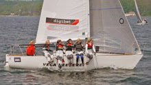 J/24 German women's team leading sailing on Baltic Sea!