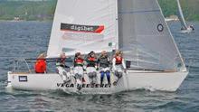 J/24 German women's team leading sailing on Baltic Sea!