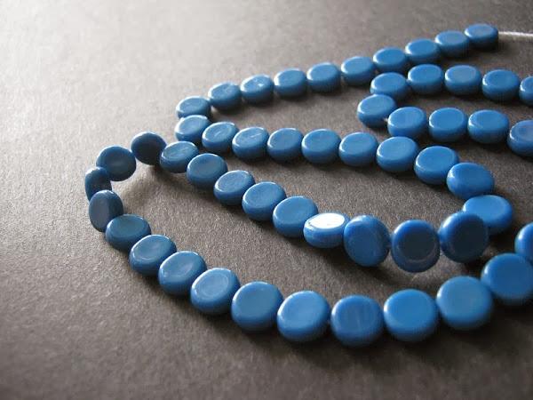 Opaque Blue Czech Glass Flat Rounds