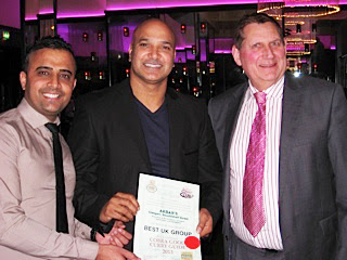 shabir hussain awarded cobra curry guide - top uk group 2013 by curry club