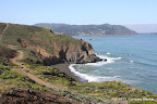 An inaccessible beach along trails at Mori Point