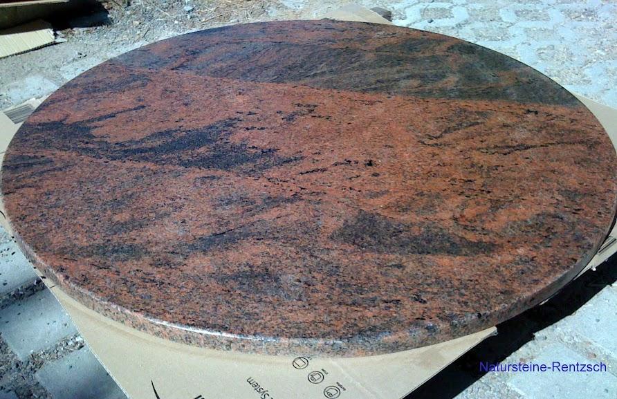 Runde tischplatte marmor granit naturstein rot steinplatte for Marmor tischplatte oval