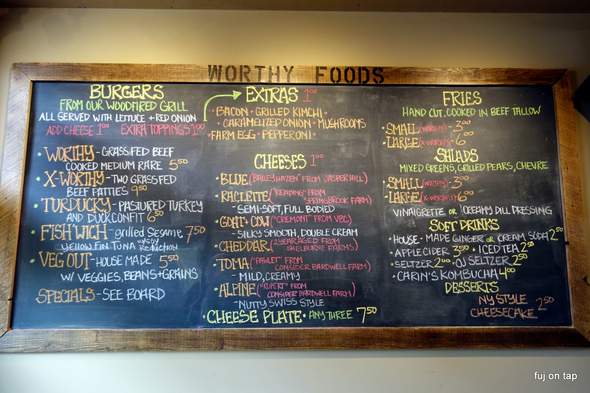 Worthy Burger Menu
