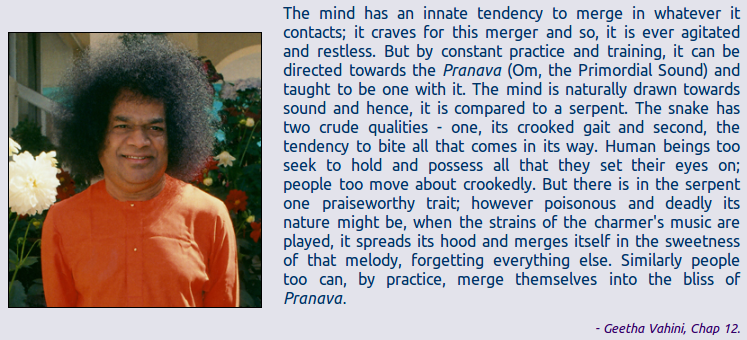 The mind has an innate tendency to merge in whatever it contacts; it craves for this merger and so, it is ever agitated and restless. But by constant practice and training, it can be directed towards the Pranava (Om, the Primordial Sound) and taught to be one with it. The mind is naturally drawn towards sound and hence, it is compared to a serpent. The snake has two crude qualities - one, its crooked gait and second, the tendency to bite all that comes in its way. Human beings too seek to hold and possess all that they set their eyes on; people too move about crookedly. But there is in the serpent one praiseworthy trait; however poisonous and deadly its nature might be, when the strains of the charmer's music are played, it spreads its hood and merges itself in the sweetness of that melody, forgetting everything else. Similarly people too can, by practice, merge themselves into the bliss of Pranava.  - Geetha Vahini, Chap 12.