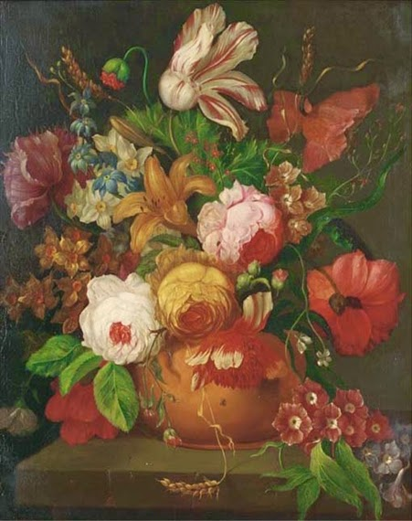 Jan van Huysum - A parrot tulip, roses, narcissi and other flowers in a vase on a stone ledge