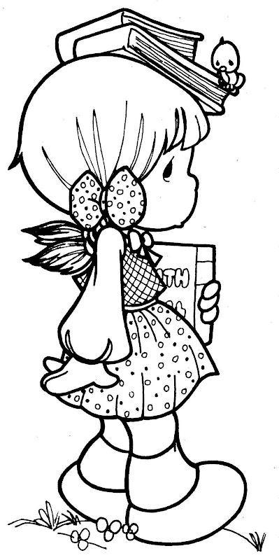 Girl student with her books precious moments for Student coloring page