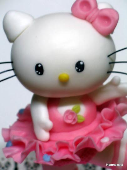 Una dulce Kitty lista para decorar tu torta en un día tan especial .