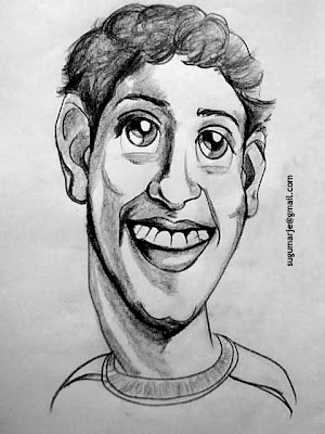 Facebook Mark Zuckerberg, Caricature by Sugumarje