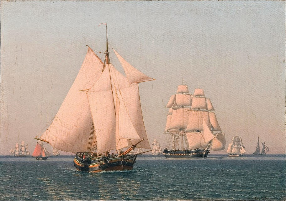 Christoffer Wilhelm Eckersberg - Ships under sail in a mild breeze on a clear summer's afternoon - Google Art Project
