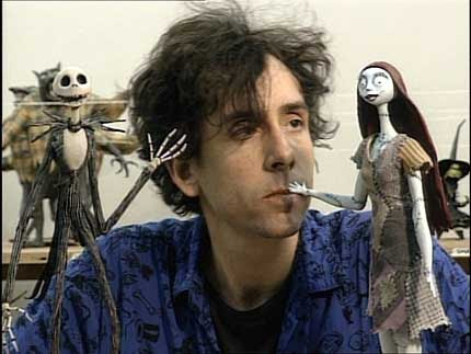Tim Burton con Jack y Sally - Pesadilla antes de Navidad, una de sus películas de más éxito