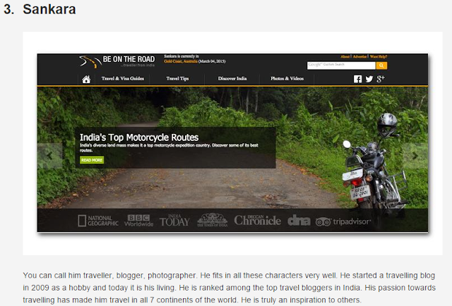 Featured as a Top Indian Travel Blogger
