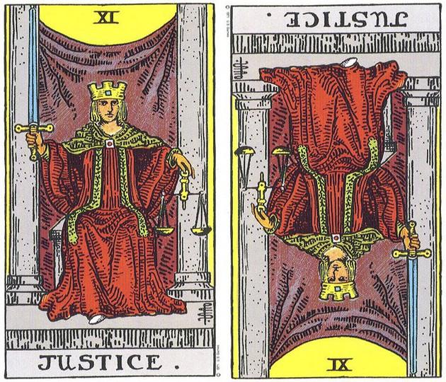 ไพ่ Justice ทาโร่ ทาโรต์ tarot กลับหัว