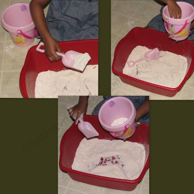 Pretend Flour as Sand and play with Beach toys