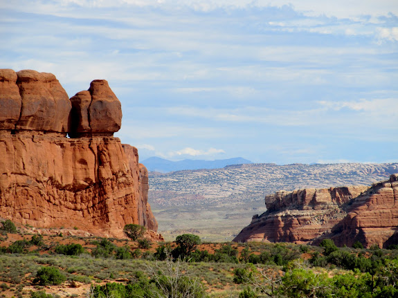 View toward Arches National Park and the La Sal Mountains