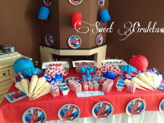Mesa de spiderman para una comuni n sweet piruletas - Mesas para comuniones ...