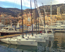 J/70s parked at Monte Carlo, Monaco yacht harbour