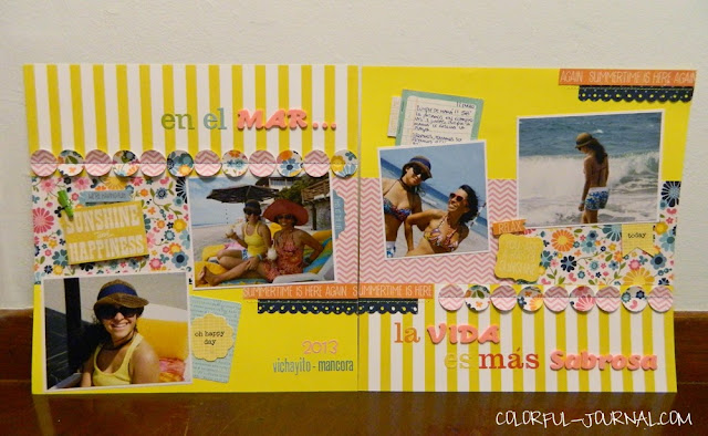 beach vichyito peru layout scrapbooking hello summer echo park paper doodlebug alphabet stickers pebbles inc sunnyside paper issues challenge