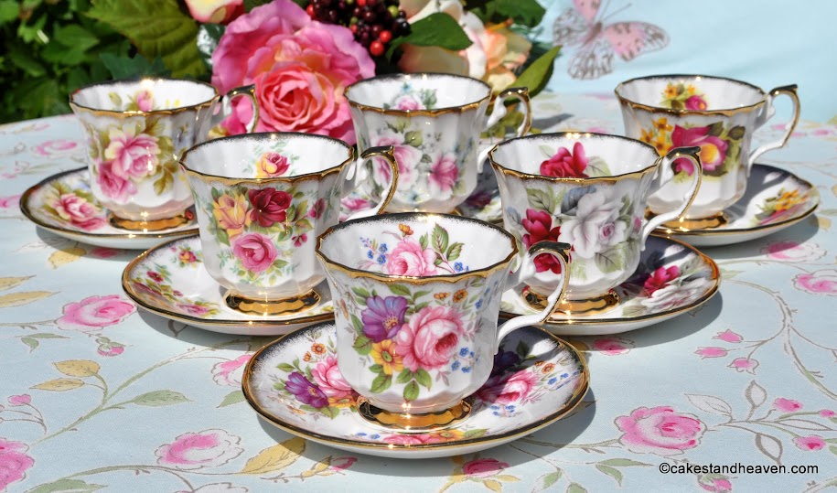 Elizabethan chintz floral vintage teacups and saucers