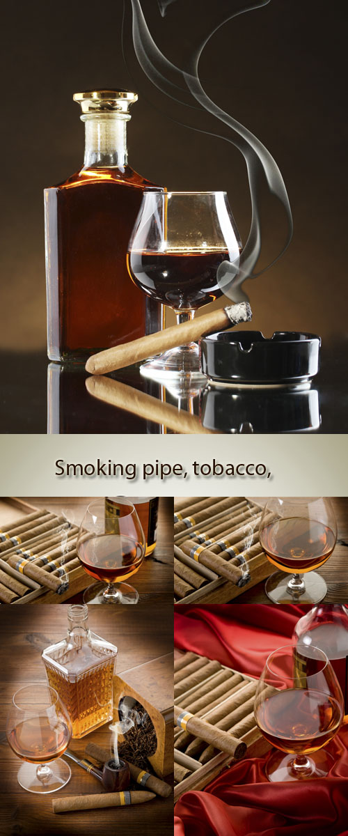 Stock Photo: Smoking pipe, tobacco, cuban cigar and liquor