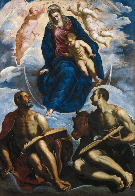 Tintoretto - Mary with the Child, Venerated by St. Marc and St. Luke