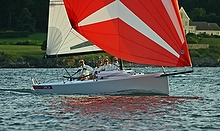 J/70 sailing with girls off Newport, RI