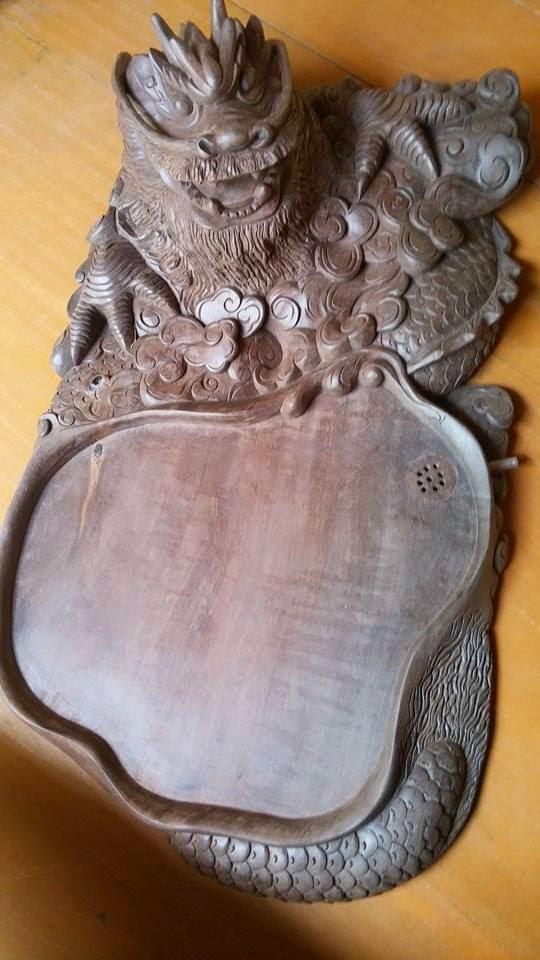 Khay trà đầu rồng gỗ phay sừng Tây Bắc mẫu KT13 - 1