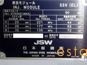 JSW JT100RELIII 55V Rotary Vertical Injection Molding Machine
