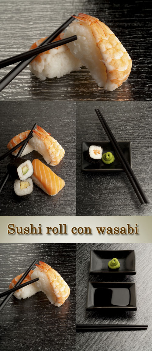 Stock Photo: Sushi roll, con wasabi