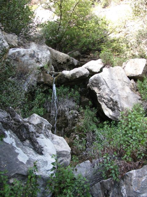 little stream of water freely falling a few feet