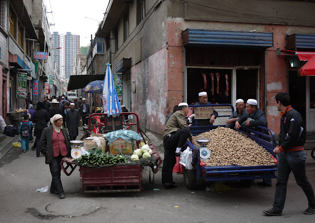 market scene in Xining, Qinghai, China