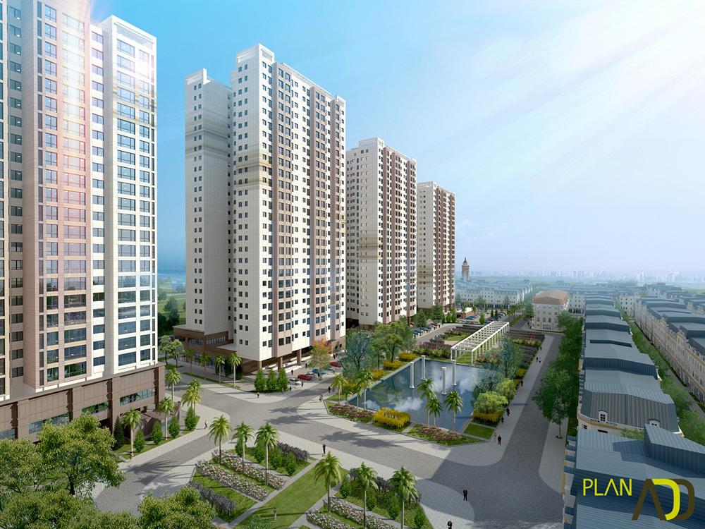 Phối cảnh chung cư The K Park Văn Phú