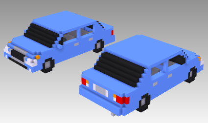 voxel car family sedan