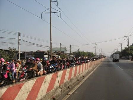 Kẹt xe tại tình Tiền Giang