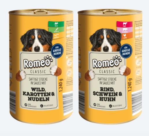 Romeo Hundefutter von Aldi Sorte Wild sowie Rind & Schwein & Hund