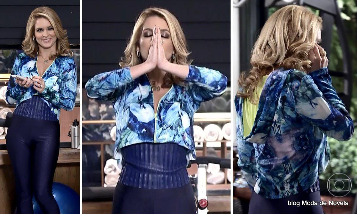 moda da novela Geração Brasil - look da Pamela com roupa de ginástica dia 11 de julho