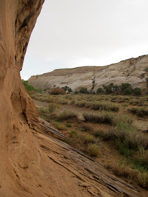 View from under the overhanging cliff--it's dry, for now