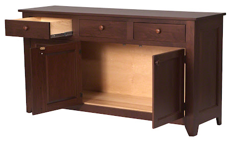 Modern Shaker Kitchen Buffet in Mocha Walnut