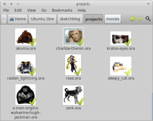Nautilus showing thumbnails for openraster (*.ora) files.