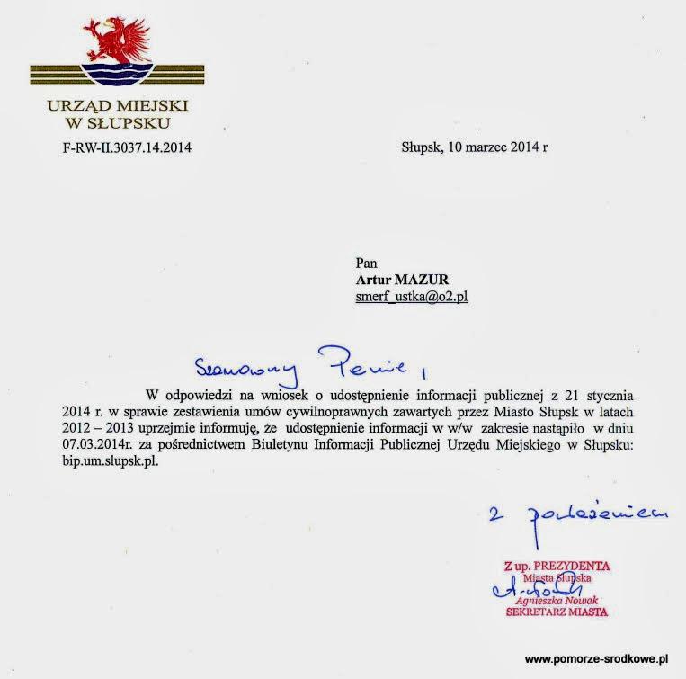 Uaktualnienie - Na wniosek Smerfa Marudy, Słupsk opublikował rejestr umów za 2012 i 2013 roku