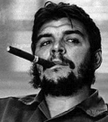 The legendary Che Guevarra smoking a Cuban cigar