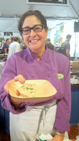 Feast 2014, Tillamook Brunch Village participant Lisa Shroeder of Mother's Bistro was the consumate professional and mother who never ran out and was superfast at doling out her delicious buttermilk biscuits with sausage gravy