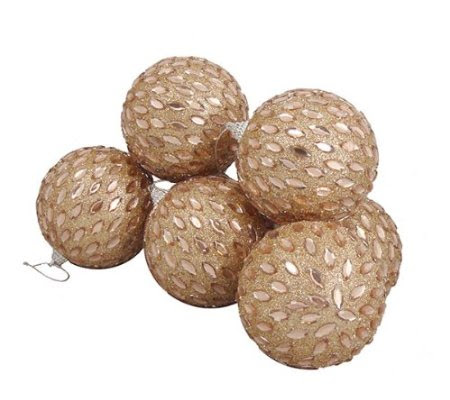6 December Diamonds Champagne Gold Shatterproof Christmas Ball Ornaments 3.75