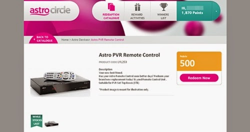 tebus mata ganjaran astro untuk astro pvr remote control