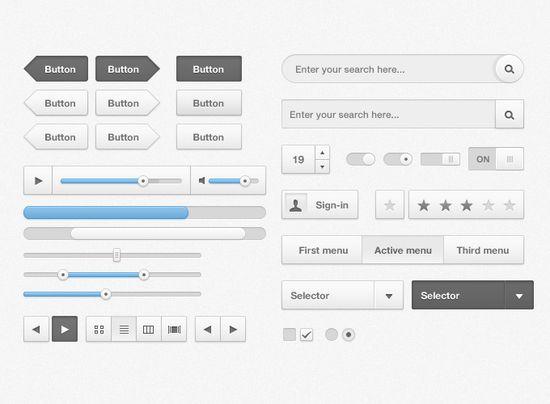 Cloudy UI kit 20 useful UI elements PSDs