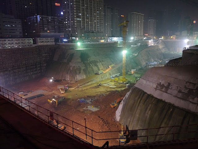 Construction site for the Changsha International Financial Square (IFS) in 2013 at night