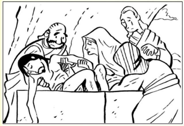 Sepultura de Jesús para colorear