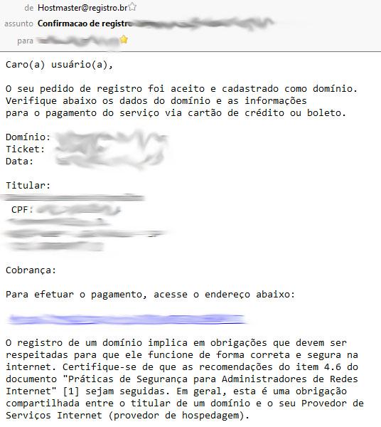 E-mail de confirmação de seu novo domínio