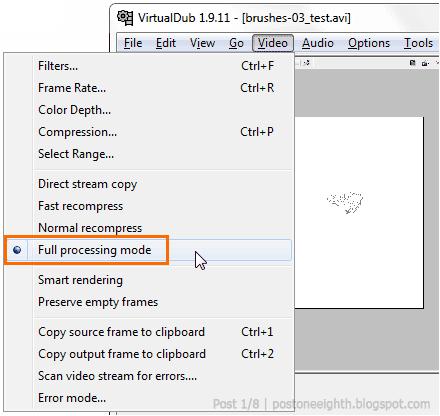Full processing mode in VirtualDub