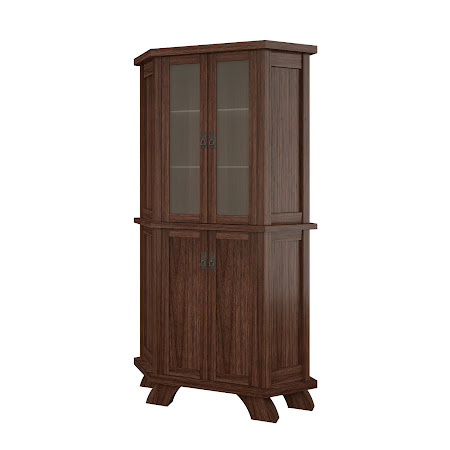 Baroque Corner Cabinet in Stormy Walnut
